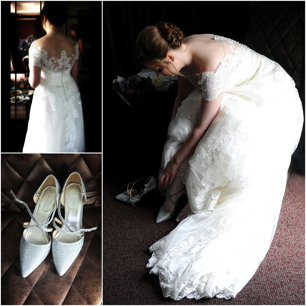 Atmospheric picture of a Bride finishing getting ready as she puts on her wedding shoes in the Surrey wedding venue Frensham Ponds Hotel bridal suite