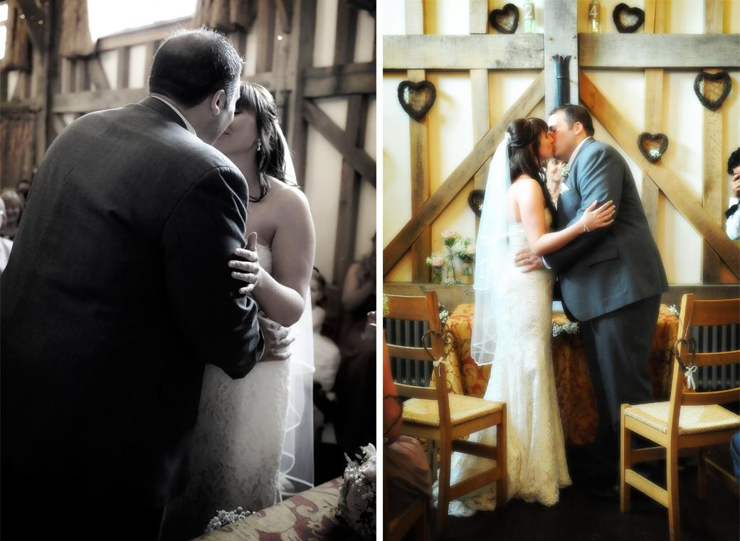 A gently loving kiss as the Groom is told ' You can now kiss your wife' captured in these tender wedding photos taken at Surrey wedding venue Gate Street Barn in the Surrey Hills