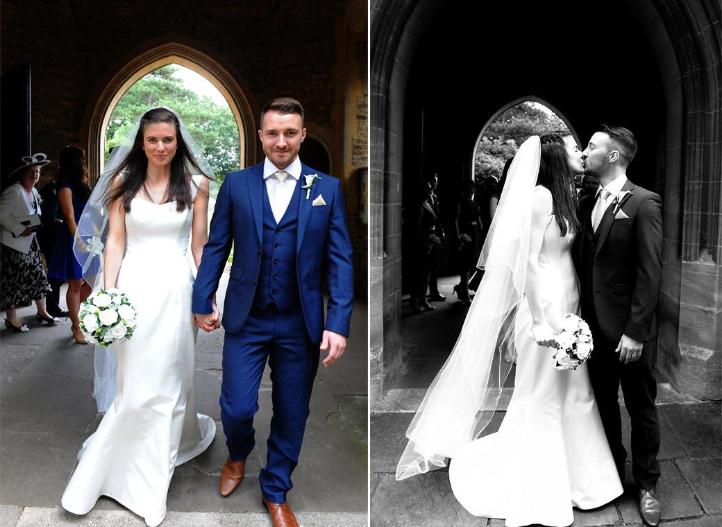 Excited newlyweds leave the church and have a kiss in these lovely happy wedding pictures taken at a Surrey church before heading off to Gate Street Barn in Bramley