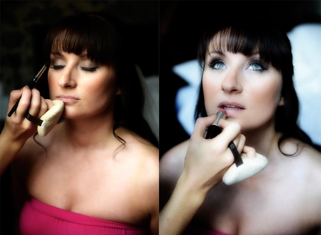 The beautiful Bride having blusher and lipstick applied in these relaxed getting ready wedding photographs at the stunning Surrey wedding venue Gate Street Barn
