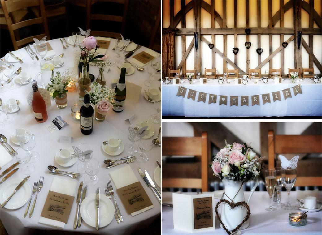 A wedding picture of the pretty rustic table settings ready for the guests to sit down for dinner at the stunning Surrey wedding venue near Guildford Gate Street Barn