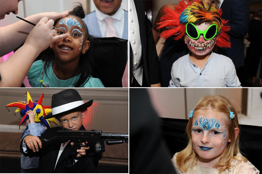 Children with painted faces and in fancy dress having fun in these colourful wedding photos taken during the evening celebrations at a Gorse Hill wedding reception in Surrey