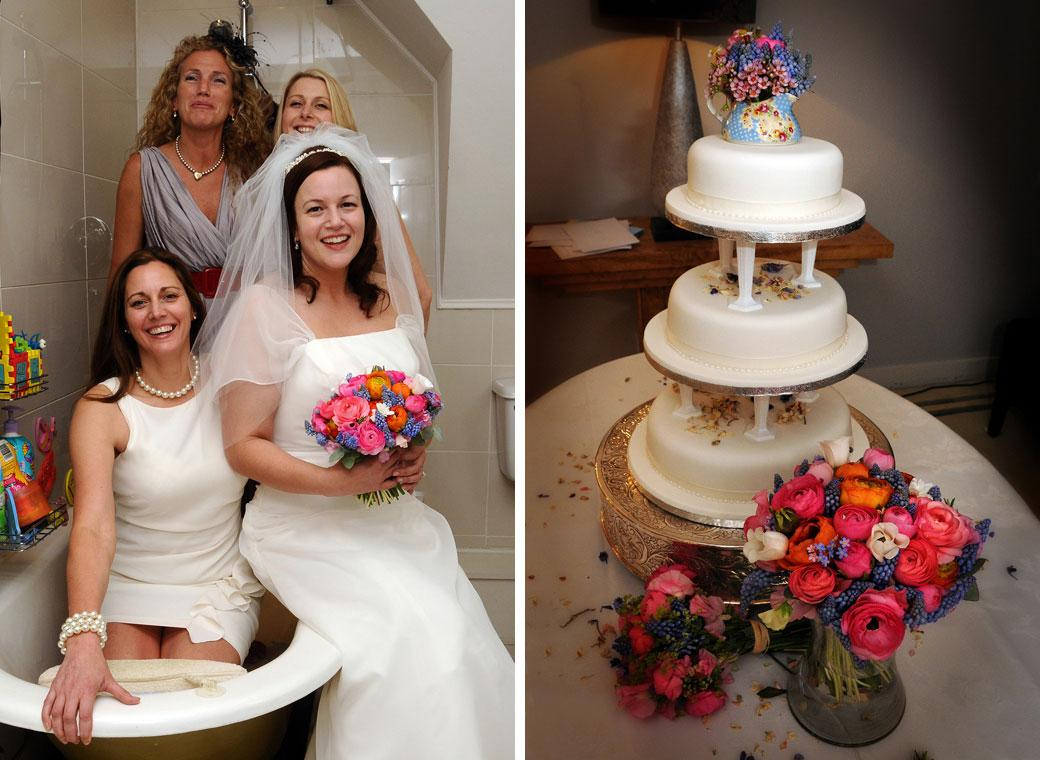 Two colourful wedding photographs of girls in a bath and the wedding cake taken at Greyfriars House nr Guildford by Surrey Lane wedding photography