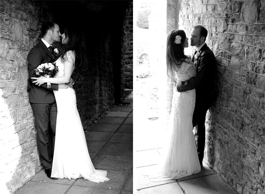 Wedding couple about to kiss in these romantic wedding photographs taken at the popular and pretty Surrey tourist landmark Guildford Castle located in the centre of town