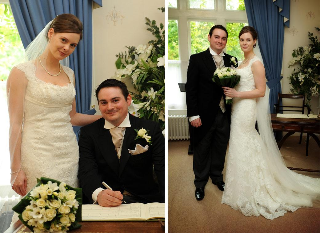 Very happy newly-weds pose in these wedding photos as they sign the marriage register and get ready to leave the Guildown Room in Guildford Register Office Surrey
