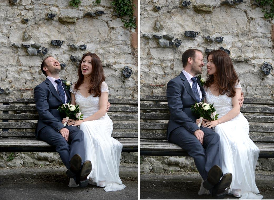 Newlyweds at Guildford Castle Gardens in Surrey captured in these informal and relaxed wedding photographs as they share a moment of fun together