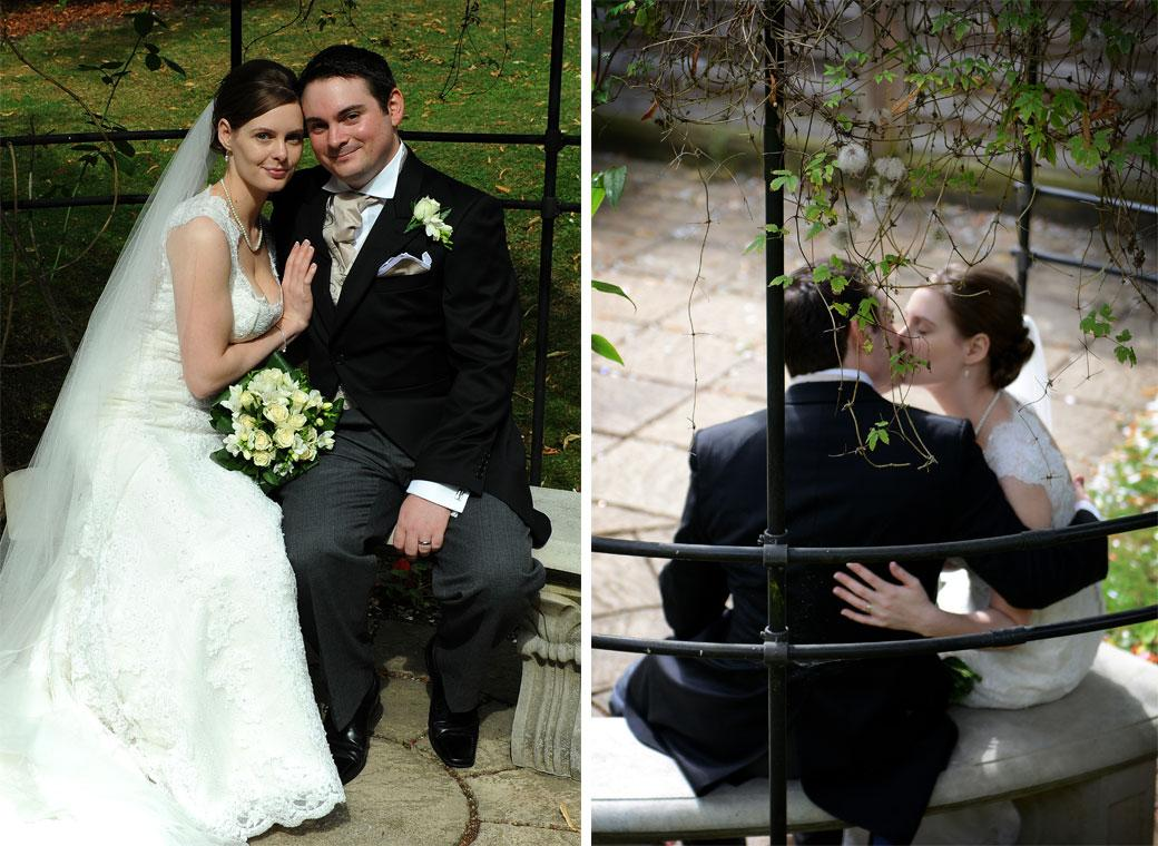 Guildford Register Office newly-weds captured in these romantic wedding pictures as they cuddle and kiss under the rose arbour in this popular Surrey wedding venue