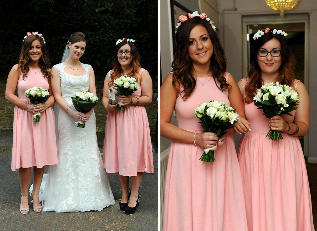 The lovely Bridesmaids in pink accompany the beatiful Bride in these wedding photographs taken as they arrive at Guildford Register Office the ever popular Surrey wedding venue