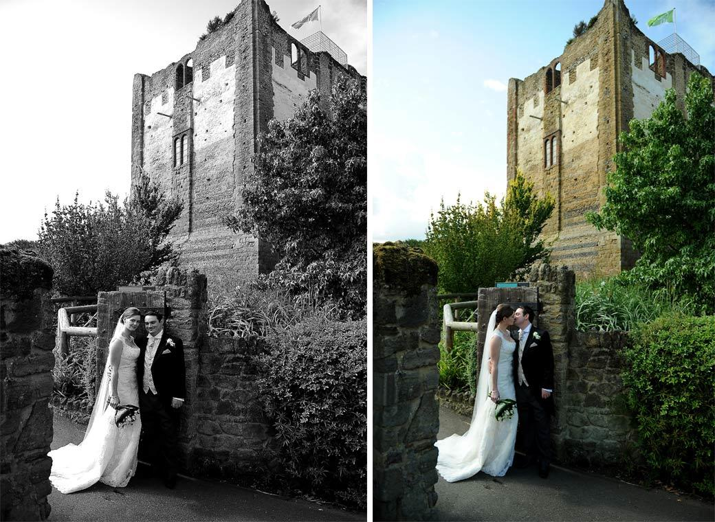 Two romantic wedding pictures of the newly-wed couple standing and kissing by an old wooden gate at the entrance to the Surrey venue Guildford Castle Gardens