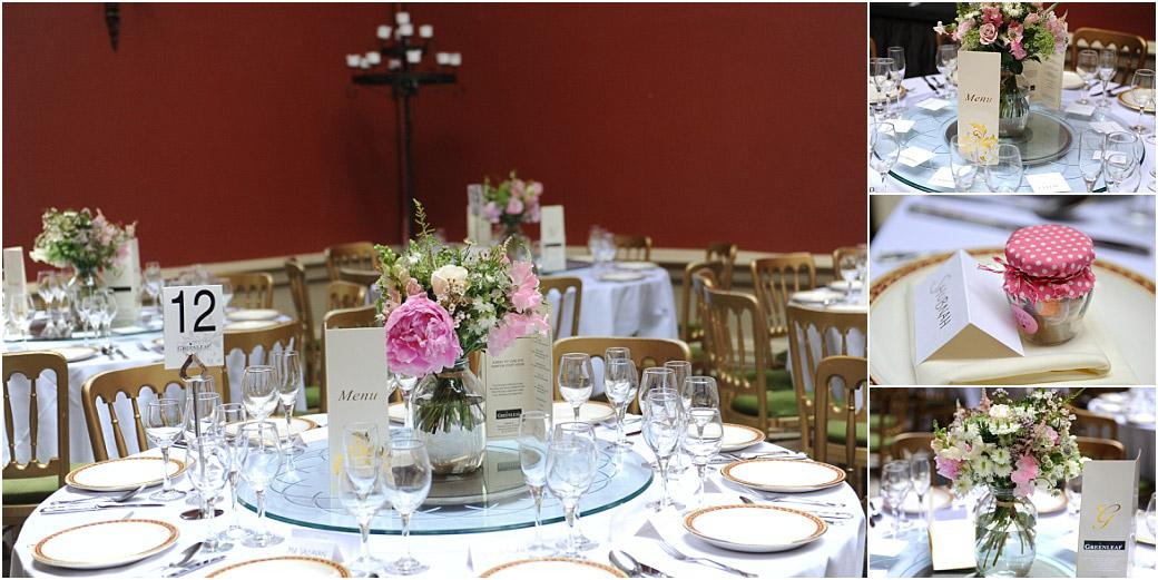 Pretty flowers, wedding favours and gold chairs are part of the wedding breakfast settings  in the Ballroom at Surrey wedding venue Hampton Court House