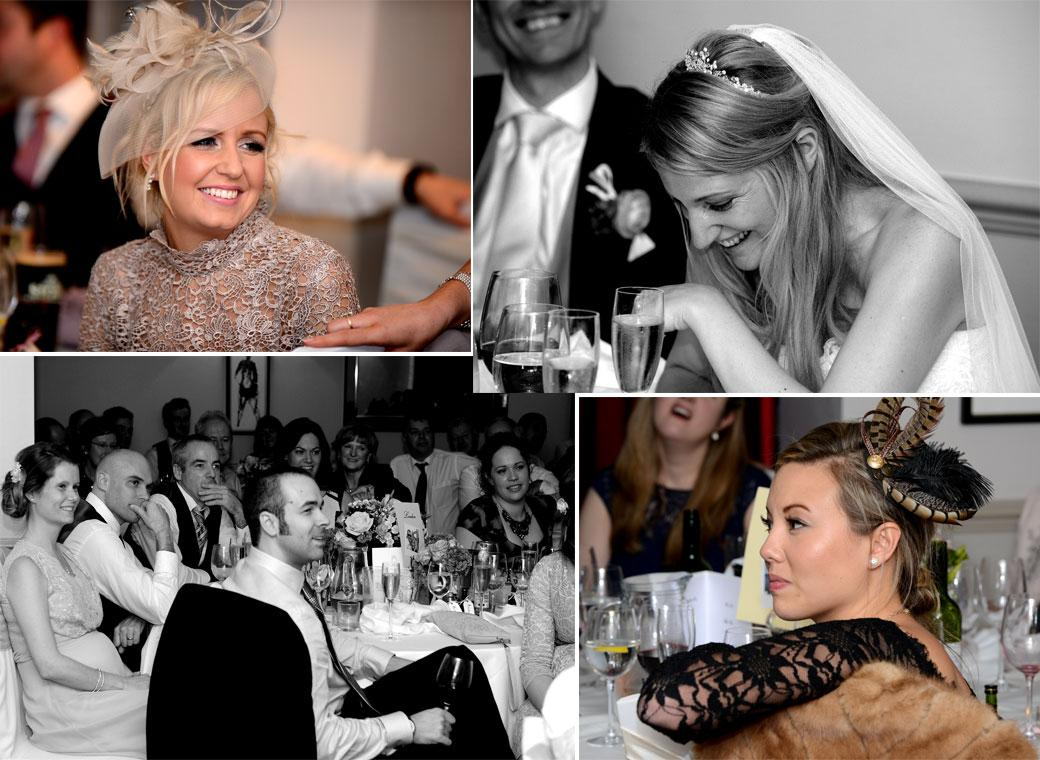 A combination of wedding pictures of guests including the Bride as they listen to the fun and interesting speeches at Hartsfield Manor, Betchworth in leafy Surrey