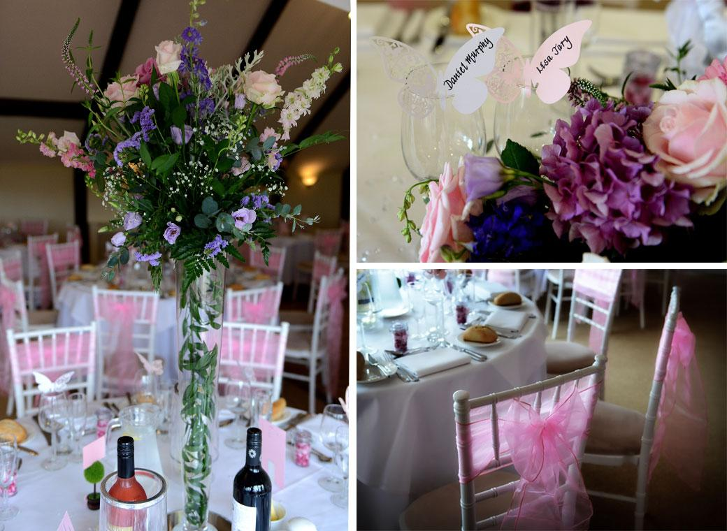 Wedding photograph montage from Kent wedding venue Hever Castle Golf Club showing pink chair sashes, butterfly table places and beautiful flower arrangements