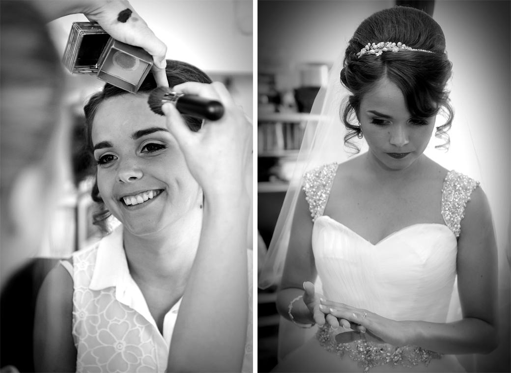 Two wedding photos of the Bride during her preparations looking happily relaxed as well pensive and nervous captured before her church marriage and reception at Hever Castle Golf Club in Kent