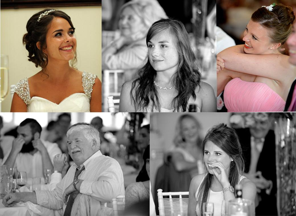 All smiles during the speeches in this compilation guest wedding photo taken in the Princes Suite at Kent wedding venue Hever Castle Golf Club