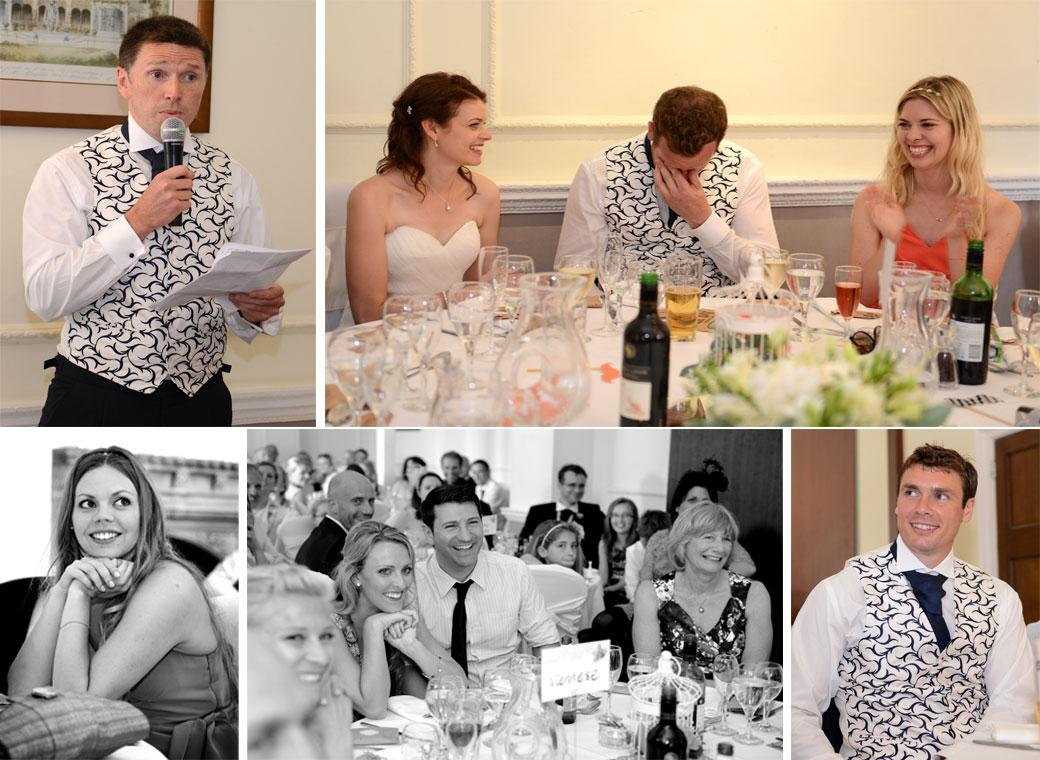 Fun and laughter during the Best Man's speech captured in the Sopwith room at Horsley Towers in these happy wedding photographs from the wonderfully relaxed Surrey wedding venue