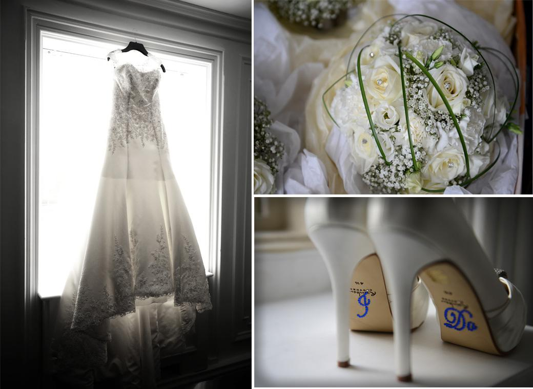 Wedding picture of the Bridal dress, shoes and bouquet prior to the marriage in the Sopwith Room and the wonderfully eccentric Surrey wedding venue Horsley Towers