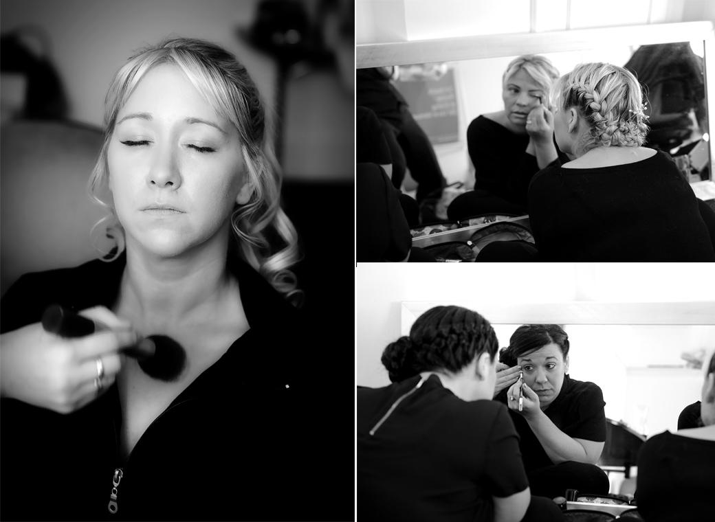 Those finishing make up preparations for the Bride and her bridesmaids in these informal wedding photographs captured by Surrey Lane wedding photography at the wonderful Horsley Towers