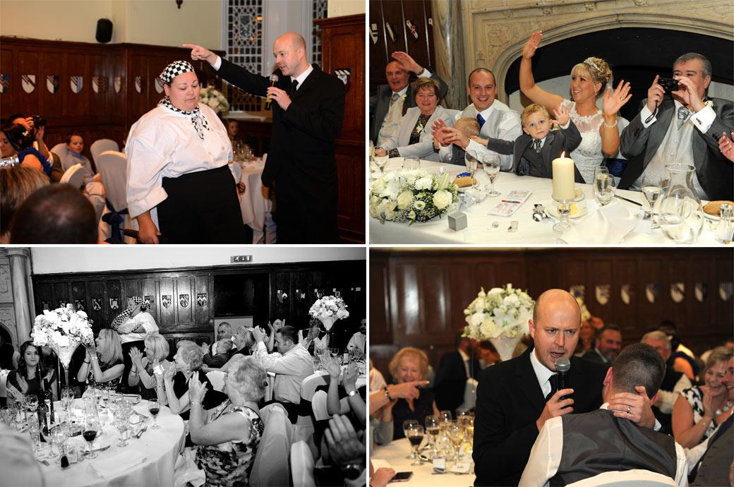 Everyone joins in the singing and laughter during the musical singing waiters show in these wedding photos taken in the Great Hall in Horsley Towers Surrey
