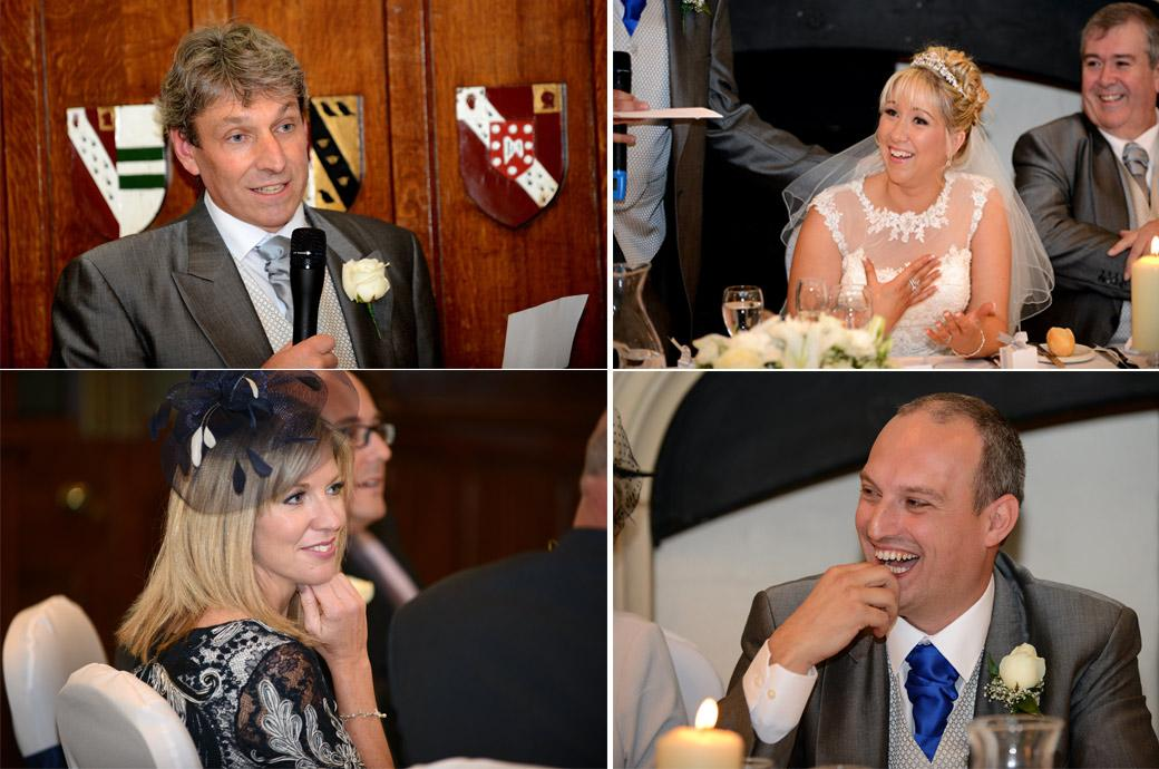 Smiles fun and laughter during the Bestman's speech captured in these wedding pictures from the Great Hall in Horsley Towers by Surrey Lane wedding photographers