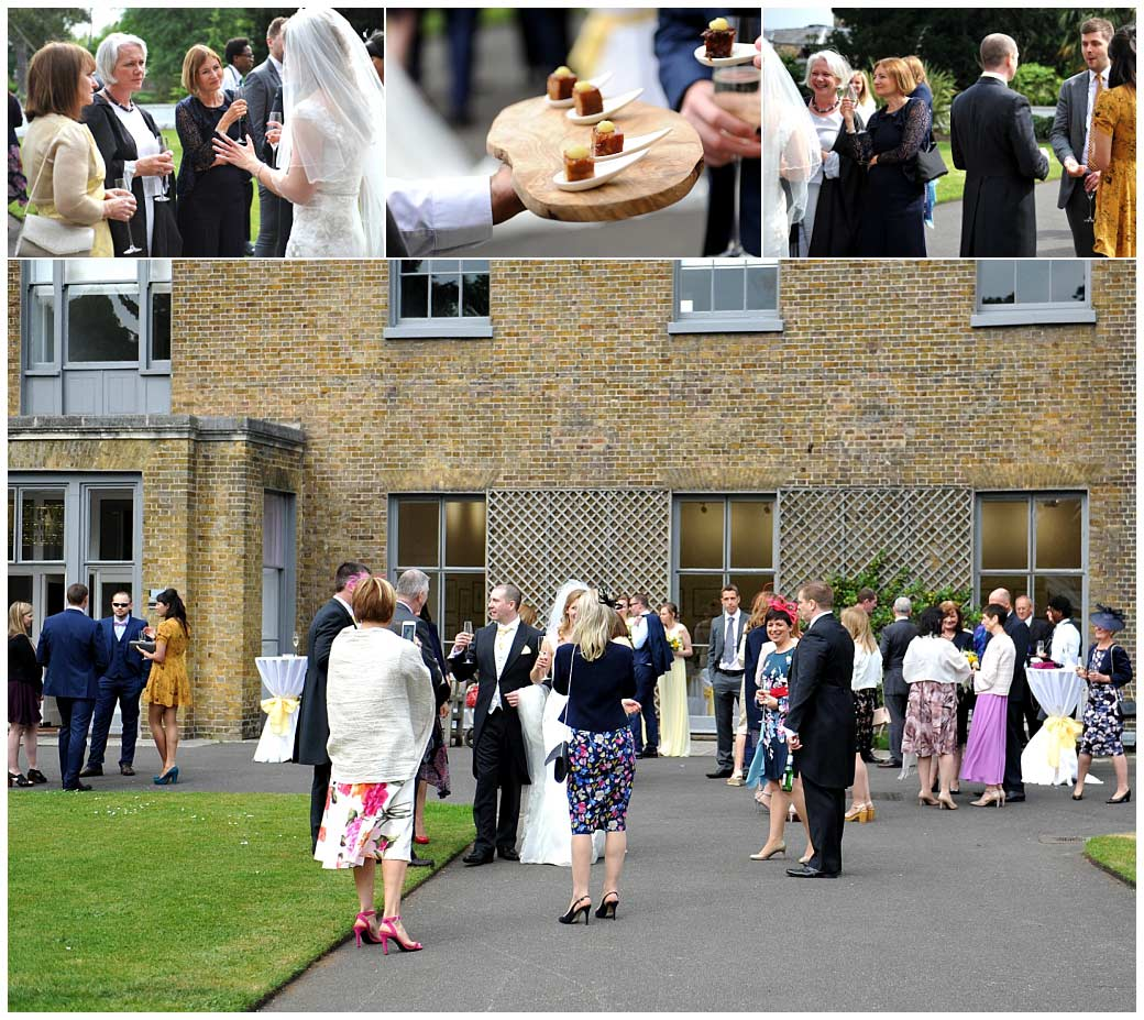 Celebratory champagne and canapés served in the patio area of the Duke's Garden in Cambridge Cottage at the world famous Kew Gardens Surrey wedding venue