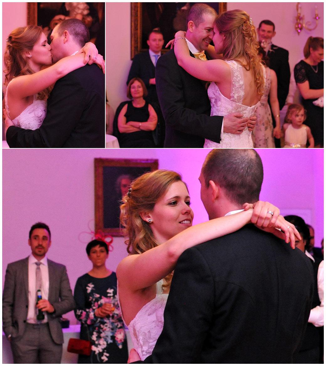 Beautiful loving couple at Surrey wedding venue Cambridge Cottage Kew Gardens captured during their romantic first dance in the Drawing Room
