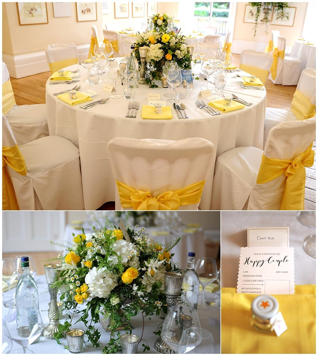 The Gallery dressed in yellow for the wedding breakfast at Surrey venue Cambridge Cottage in the world famous botanical gardens at Kew
