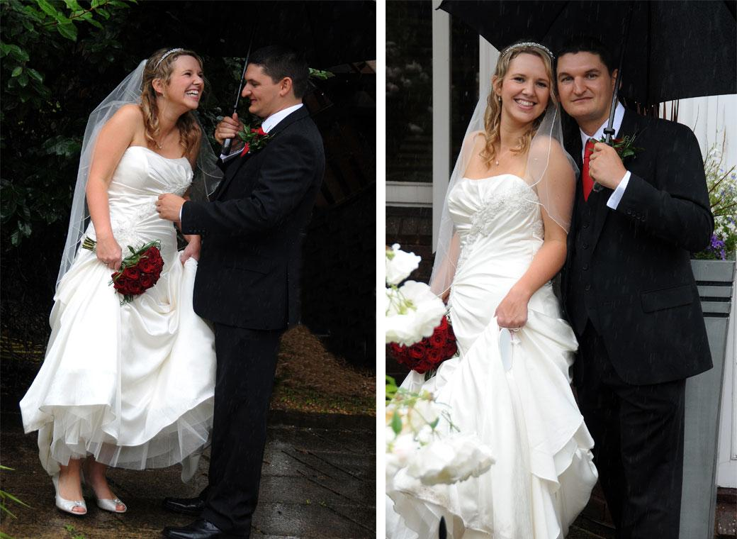 Bride and Groom having fun posing under these umbrella wedding pictures taken at the Surrey wedding venue Brook Kingston Lodge Hotel