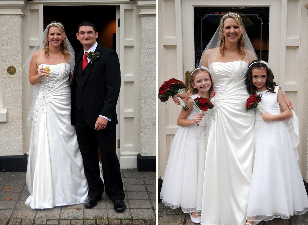 A couple of Bride portraits with the Groom and the Bridesmaids taken at the  Brook Kingston Lodge Hotel by Surrey lane wedding photography