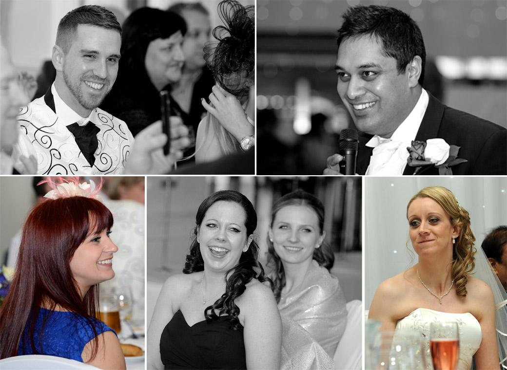 A collection of wedding photos of guests taken during the speeches captured by Surrey Lane wedding photographers in the Kingswood Golf Club Conservatory