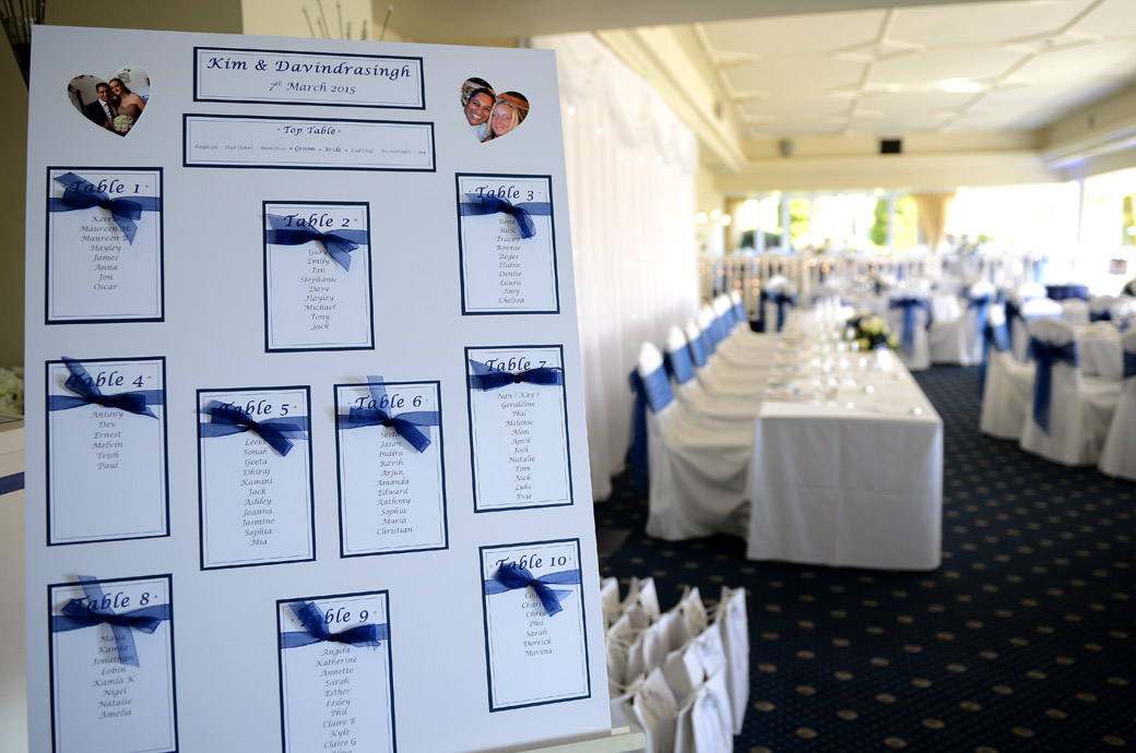 Wedding breakfast seating plan captured by a Surrey Lane wedding photographer in the Conservatory at Kingswood Golf Club in green and tranquil Tadworth