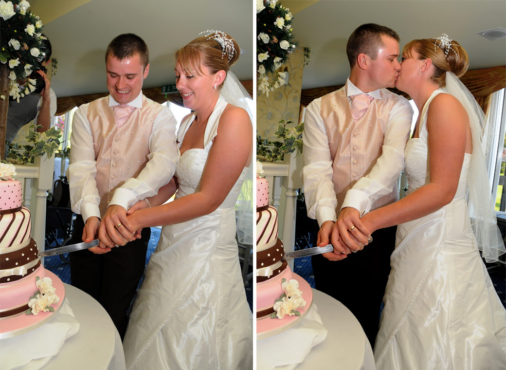 Bride and Groom cut their fun wedding cake and have a kiss in these wedding pictures taken in The Conservatory in Tadworth Surrey at Kingswood Golf Club