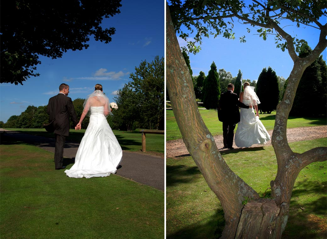 A couple of wedding photographs of the couple hand in hand and arm in arm walking across the lawn at Kingswood Golf Club in Tadworth Surrey
