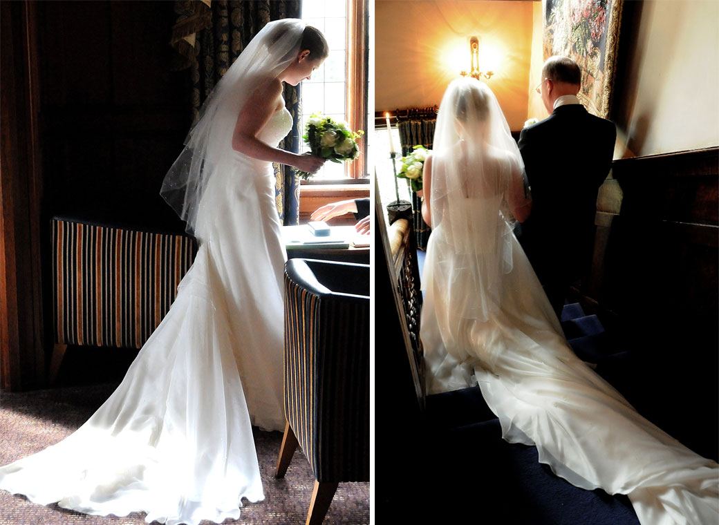 Two beautiful Bride in her wedding dress photos taken before the wedding ceremony by Surrey Lane wedding photography at Langshot Manor