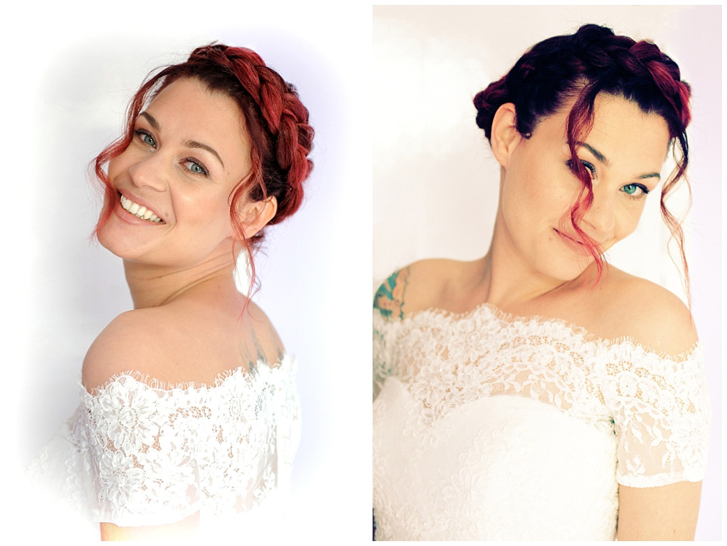 Lovely Bride with red hair and tattoo poses for her Surrey Lane wedding photographer in her lovely wedding dress ready for her Leatherhead Registry Office marriage