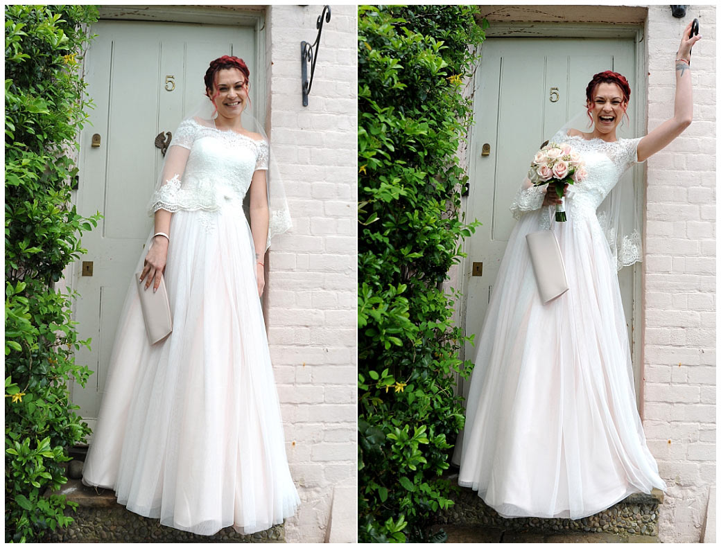 Excited beautiful Bride standing by the door of her house ready to leave for her wedding at the local Surrey wedding venue Leatherhead Register Office in The Mansion