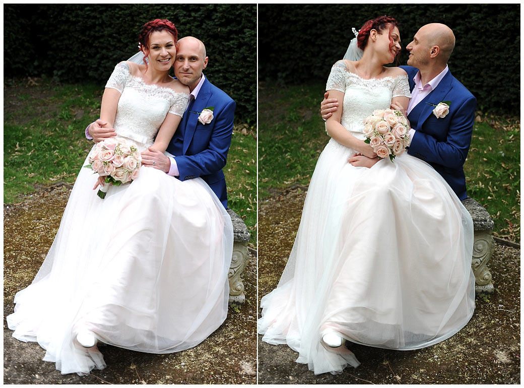 Happy newlyweds captured in this wedding photo outside at Leatherhead Register Office in Surrey as they cuddle and share some time together on a garden bench