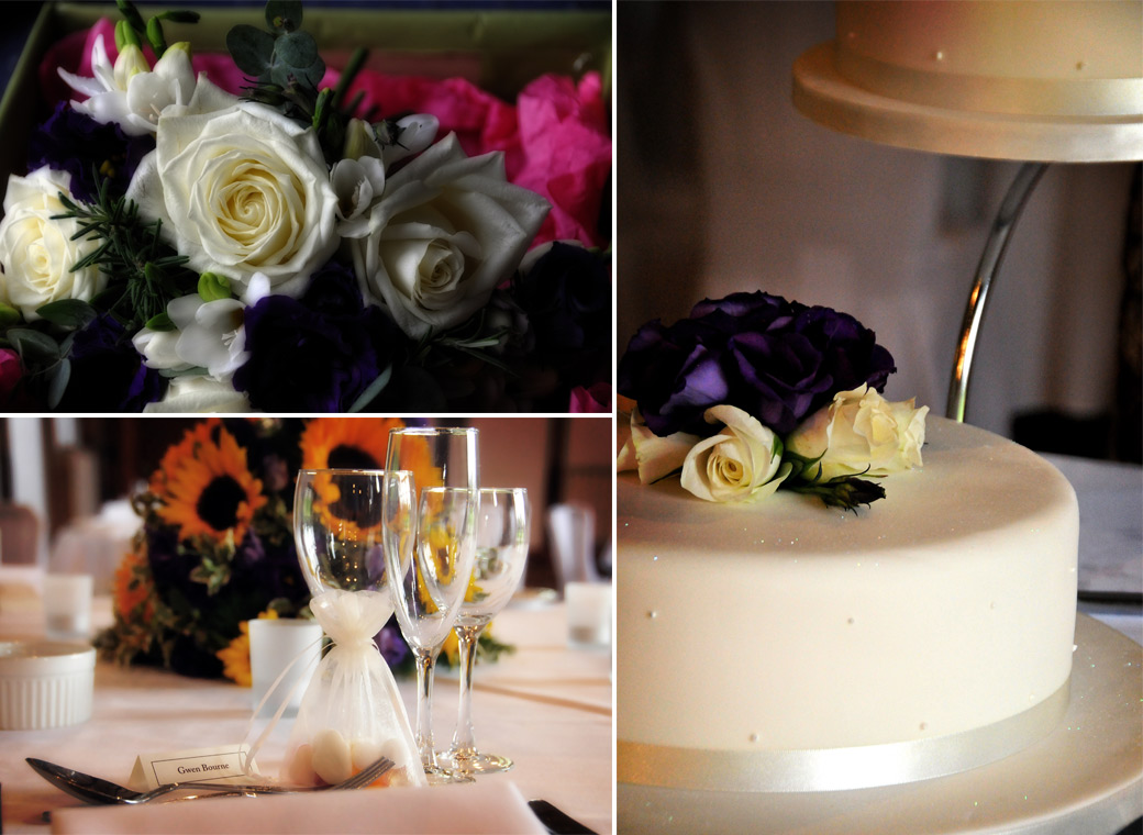 Colourful wedding cake, flowers and table setting wedding photos taken at the reception in the Tithe Barn at Loseley Park captured by Surrey wedding photographers