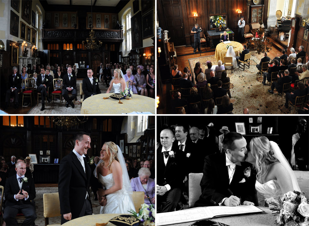 A compilation of atmospheric wedding photographs taken in the magnificent Great Hall at Loseley Park in Guildford and captured by Surrey Lane wedding photographers