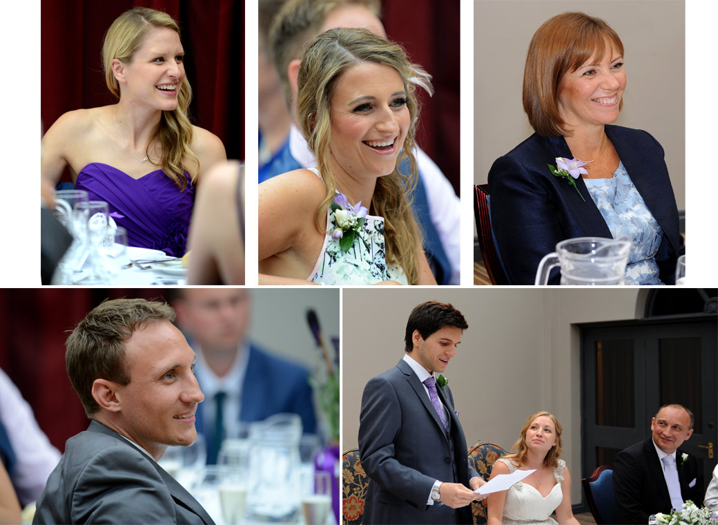 A collection of wedding pictures of smiling guests centred around the wedding speeches shot in The Garden Room at Surrey wedding venue Lythe Hill Hotel