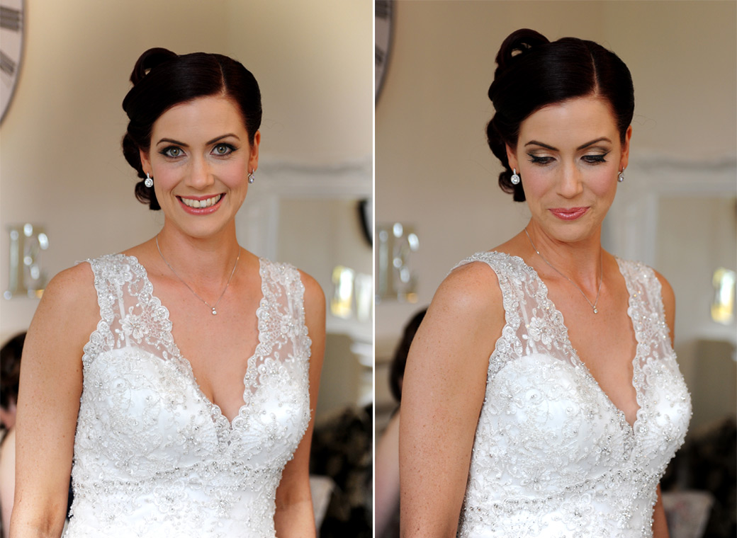 Bride looking stunning in her beautiful wedding dress as she finishes her bridal preparations on the morning of her marriage at Nonsuch Mansion in Cheam Surrey
