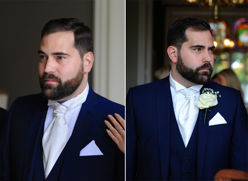 A slightly nervous Groom takes some time to reflect as he waits for guests to arrive in these wedding pictures taken outside the Orchid Room at Nonsuch Mansion in Surrey
