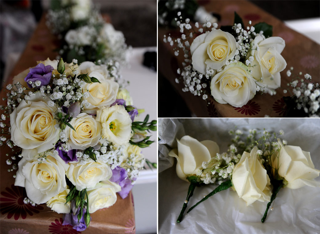 Beautiful and delicate yellow rose wedding bouquets and button holes captured at Nonsuch Mansion in Cheam by Surrey Lane wedding photographers