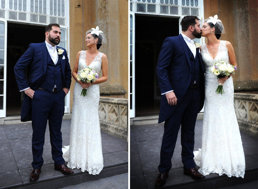 Laughter and a kiss captured in these two wedding pictures of the happy couple as they stand out on the terrace at Surrey wedding venue Nonsuch Mansion in Cheam village