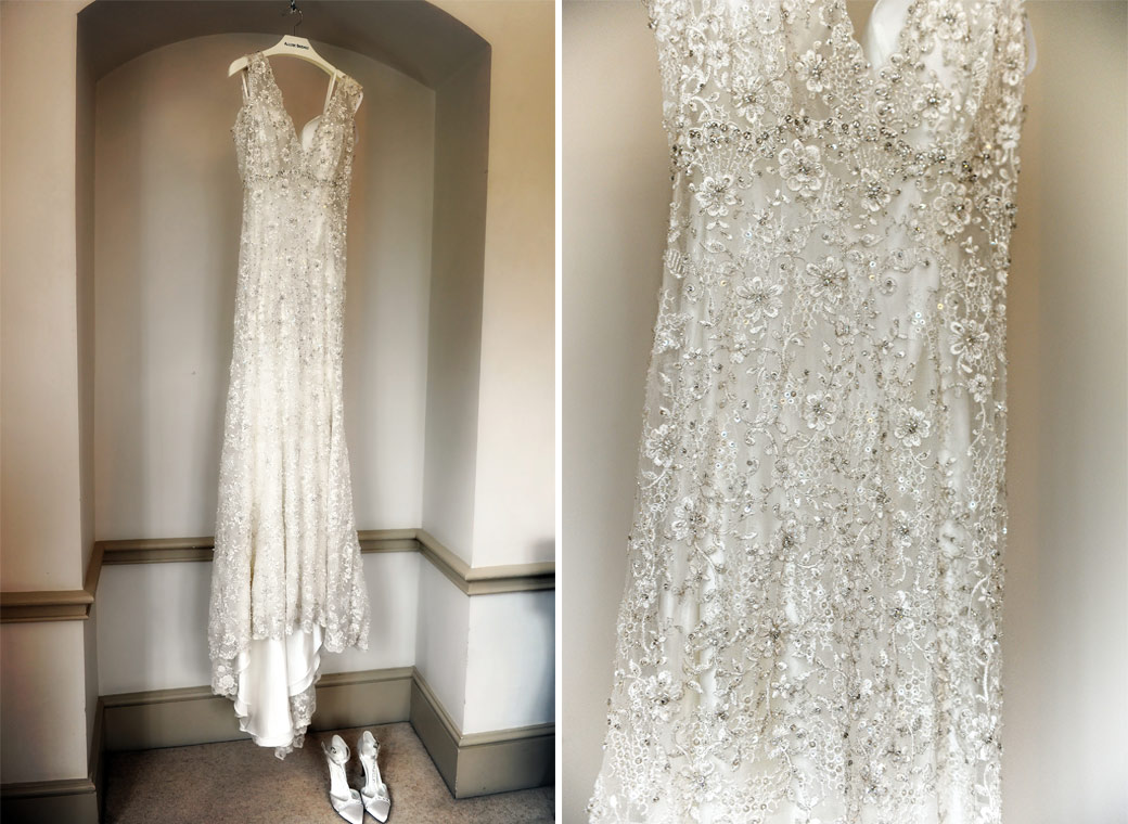 The delicate and beautiful wedding dress and shoes captures in the bridal suite at the historic and picturesque wedding venue Nonsuch Mansion in Cheam Surrey