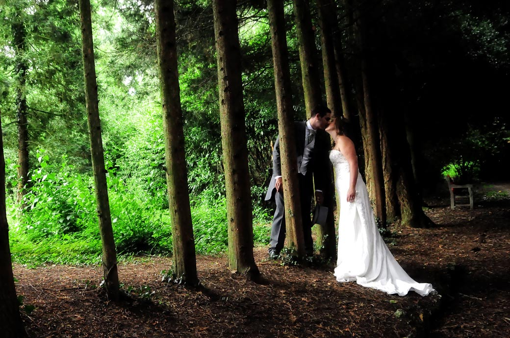 A beautiful romantic shot of the Bride and Groom kissing under the trees. Wedding photo taken at Nonsuch Mansion by Surrey Lane wedding photography