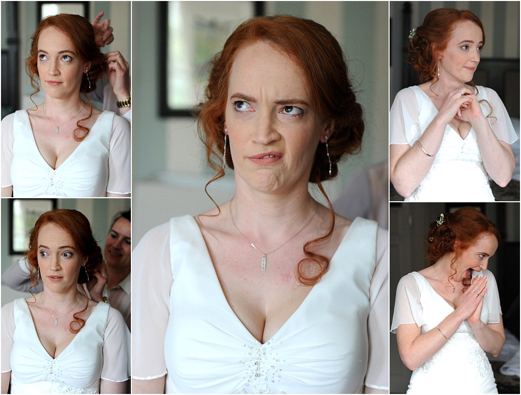 The many funny faces of a lovely vivacious bride as she is helped to prepare for her marriage at the ever popular Surrey wedding venue Pembroke Lodge with its Richmond Park setting