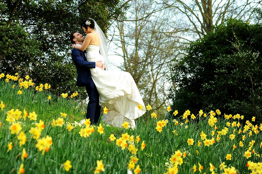 Groom lovingly picks up his Bride in amongst the bright yellow daffodils in this romantic wedding photograph taken by Surrey Lane wedding photographers at Pembroke Lodge