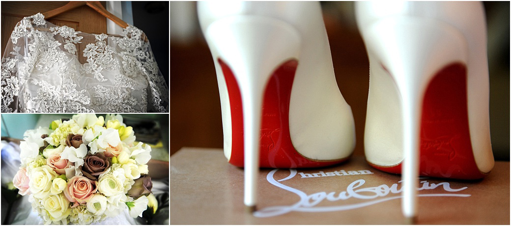 Compilation picture of a Bride's wedding dress, designer shoes and bouquet captured at the exclusive and luxurious Surrey wedding venue Pennyhill Park Hotel