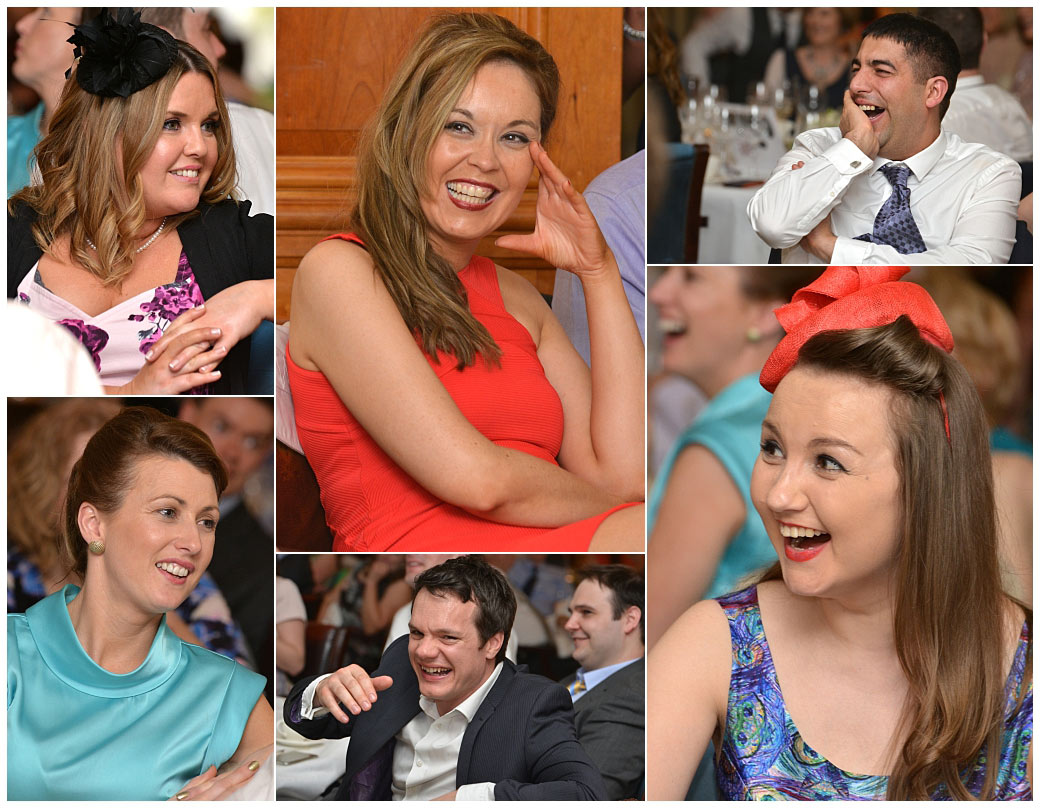 Various pictures of guests captured as they listen to the funny and entertaining wedding speeches captured at Surrey wedding venue Pennyhill Park in the Balmoral Suite