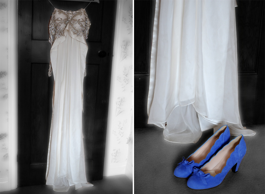 Wedding dress and the Bride's blue suede shoes captured in these wedding photos taken as the Bride gets ready for her Surrey church wedding & Ramster Hall reception